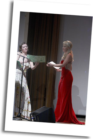 President of Jury British Actress Camilla Rutherford in tie with Dame Of Honour Gemma Garrett 2008 Miss Great Britain
