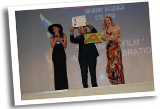 Angel Orensanz receiving his special Angel Film Award for surrealistic non violent art film